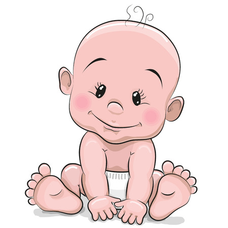 baby diaper: Cute cartoon baby boy isolated on a white background