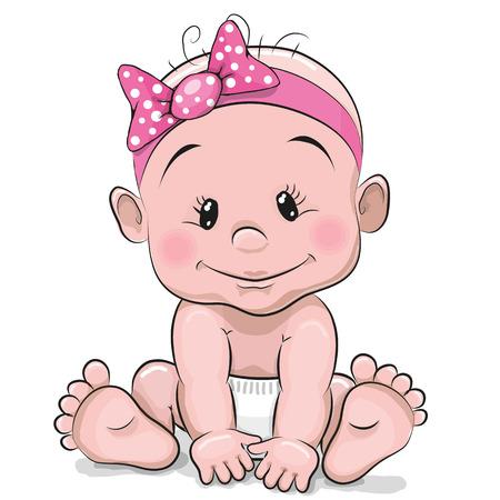 bebês: A menina bonito bebê dos desenhos animados isolado em um fundo branco