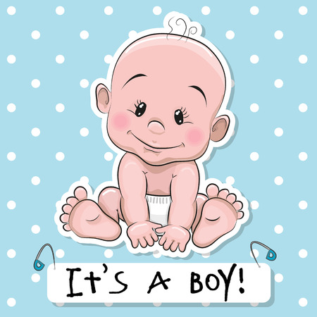 Greeting card its a boy with baby on a blue dots background