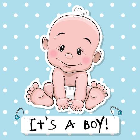 Tarjeta de felicitación es un niño con el bebé en un fondo de los puntos azules Foto de archivo - 44206120