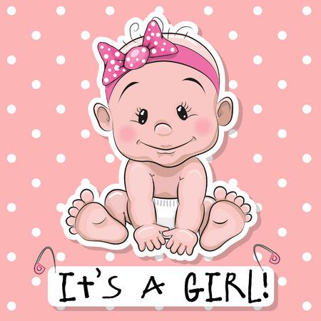 인사말 카드 그것은 핑크 점 배경에 아기와 소녀