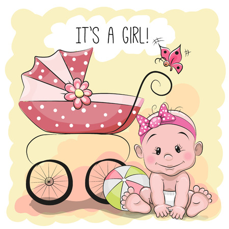 its a girl: Greeting card its a girl with baby and carriage Illustration