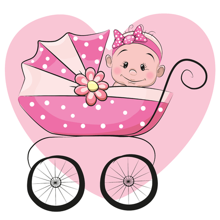Cute Cartoon Baby girl is sitting on a carriage on a heart background Vectores