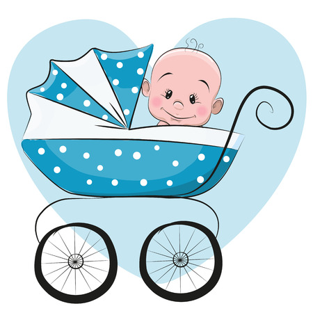 infant baby: Cute Cartoon Baby boy is sitting on a carriage on a heart background Illustration