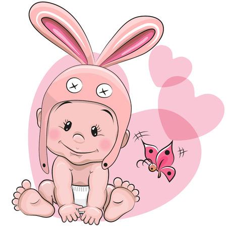 conejo caricatura: Bebé lindo de la historieta en un sombrero de conejo