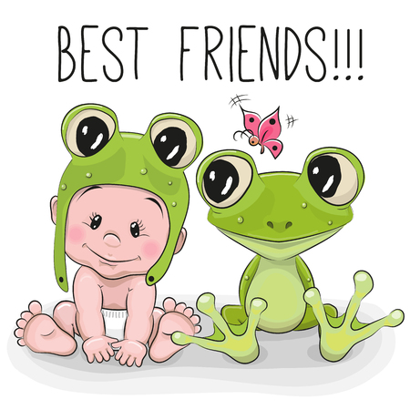 rana caricatura: Bebé lindo de la historieta en un sombrero froggy y rana Vectores