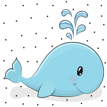 cartoon whale: Cute cartoon blue whale on a dots background