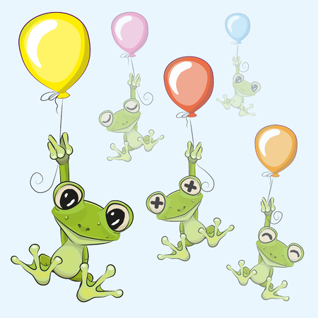 the animated cartoon: Cute cartoon Frogs with balloons on a blue background
