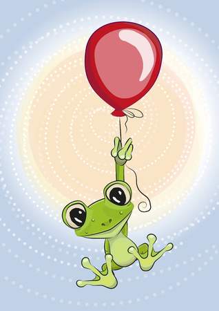 the animated cartoon: Cute cartoon Frog with balloon on a blue background