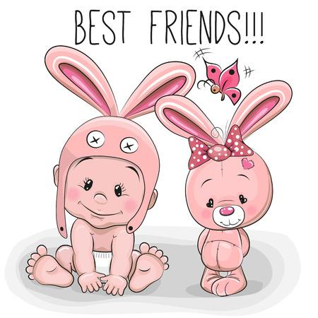 아기: 토끼 모자와 핑크 토끼의 귀여운 만화 아기 일러스트
