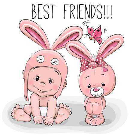 best friends: Cute Cartoon Baby in a bunny hat and pink bunny