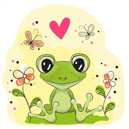 rana caricatura: Rana linda está sentado en el prado con flores