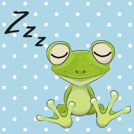 ドットの背景にキャップでカエルを眠っています。  イラスト・ベクター素材