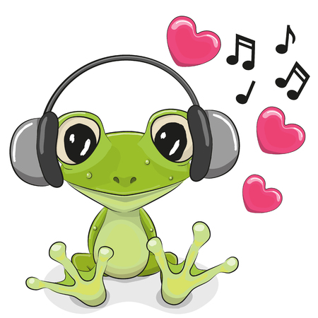 rana: Rana linda de la historieta con los auriculares y los corazones