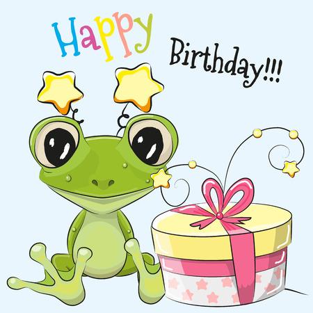 rana: Tarjeta de felicitación linda de la rana de dibujos animados con el regalo