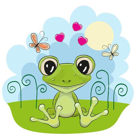 꽃과 나비와 함께 귀여운 만화 개구리 일러스트