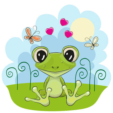 green cute: Cute cartoon Frog with flowers and butterflies
