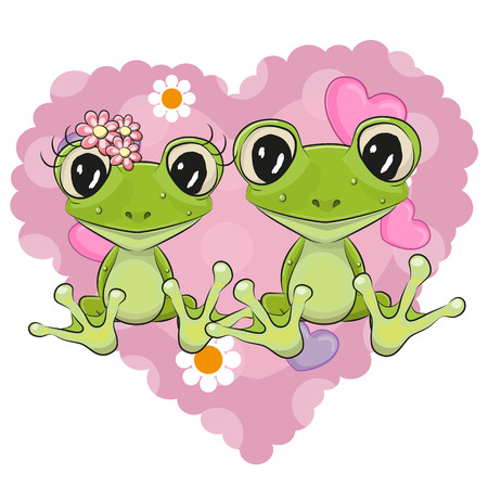 petites fleurs: Deux grenouilles Cartoon sur un fond de coeur Illustration