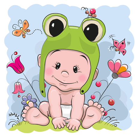 Cute Cartoon Baby in a froggy hat on the meadow