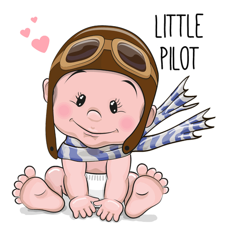 Cute Cartoon Baby boy in a pilot hat and scarf. Stock Photo