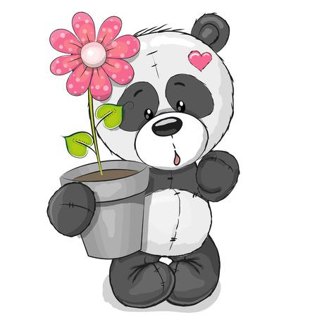 花とグリーティング カードかわいい漫画パンダ