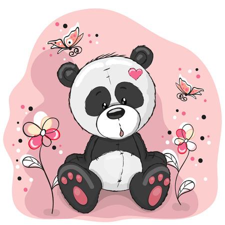 papillon dessin: Panda avec des fleurs et des papillons sur une prairie Illustration