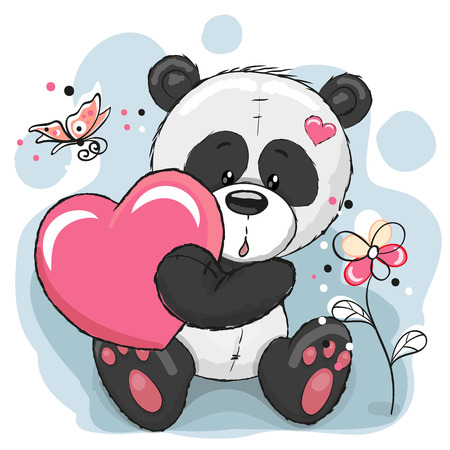 caricaturas de animales: Panda linda con el coraz�n, flores y mariposas