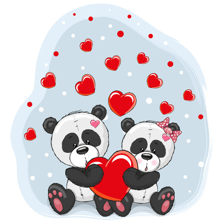 animal background: Two cute cartoon pandas with hearts on a blue background Illustration