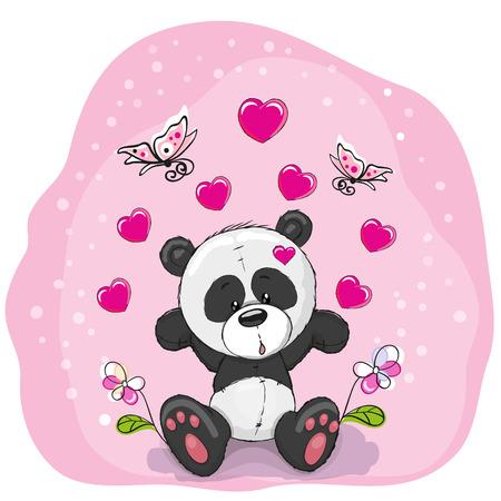 caricaturas de animales: Panda linda del dibujo animado con corazones, flores y mariposas