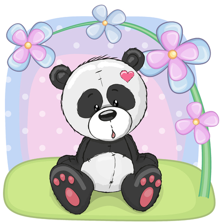 Greeting card cute cartoon Panda with flowers