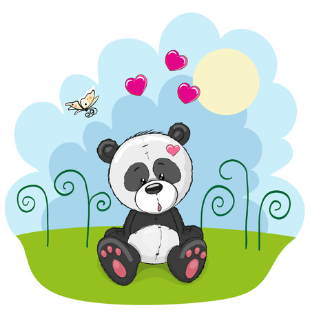cute cartoon girl: Panda with flowers and butterflies on a meadow Illustration
