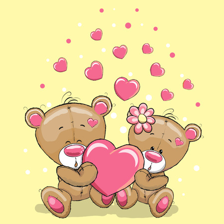 Cute Teddy Bears with heart on a yellow background Ilustracja