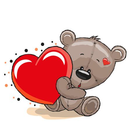 osos de peluche: Oso de peluche lindo con el corazón en un fondo blanco Vectores