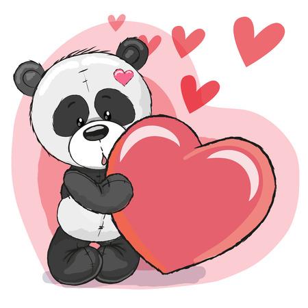 심장 배경에 마음을 가진 귀여운 만화 팬더