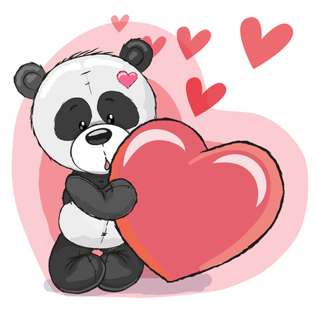 Cute Cartoon Panda with heart on a heart background