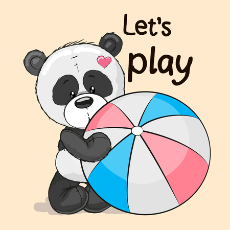 rag: Cute Panda with a ball on a yellow background Illustration
