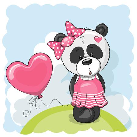 panda dessin: Carte de voeux de la fille mignonne Panda avec le ballon sur la prairie Illustration