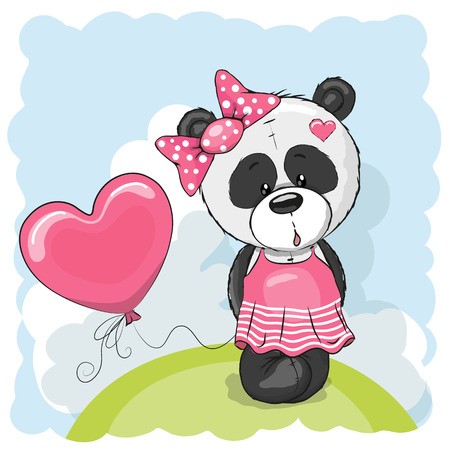 background person: Greeting card Cute Panda girl with balloon on the meadow Illustration