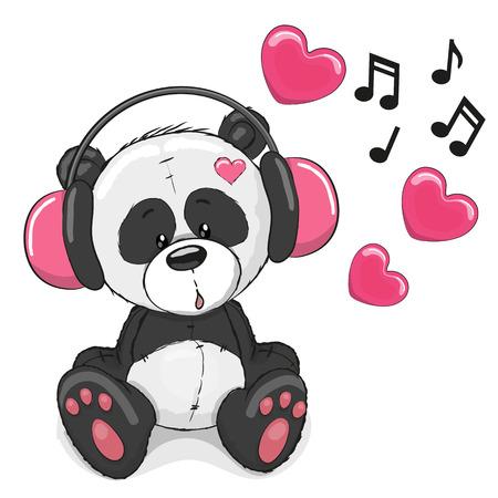Panda mignon de bande dessinée avec un casque rose