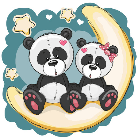 Two Cute Pandas is sitting on the moon