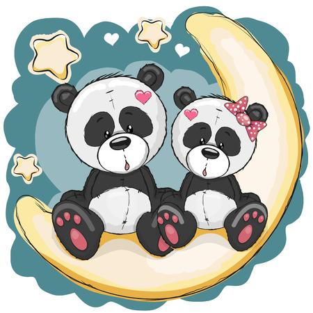 oso panda: Dos pandas lindas está sentado en la luna