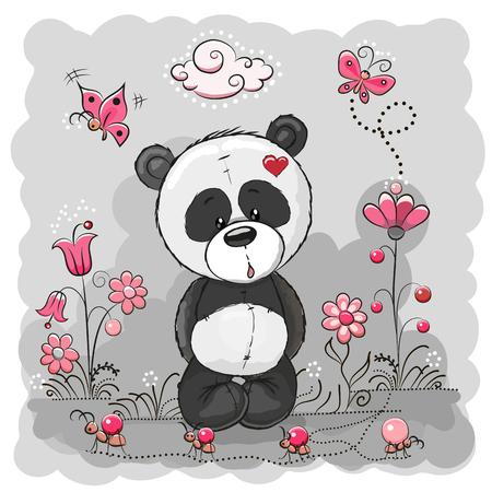 papillon: Panda avec des fleurs et des papillons sur un pré
