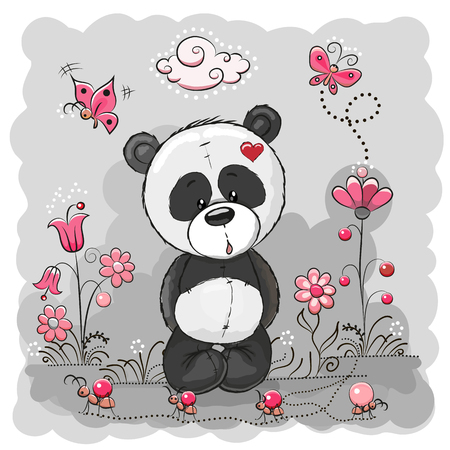 cute cartoon girl: Panda with flowers and butterflies on a the meadow Illustration