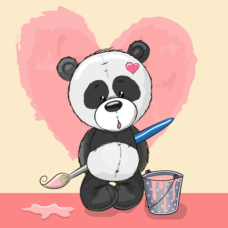brush painting: Cute Panda with brush is drawing a heart Illustration