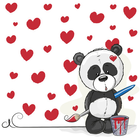 Cute Panda with brush is drawing hearts