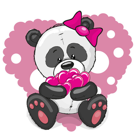 Greeting card cute cartoon Panda girl with hearts Illustration