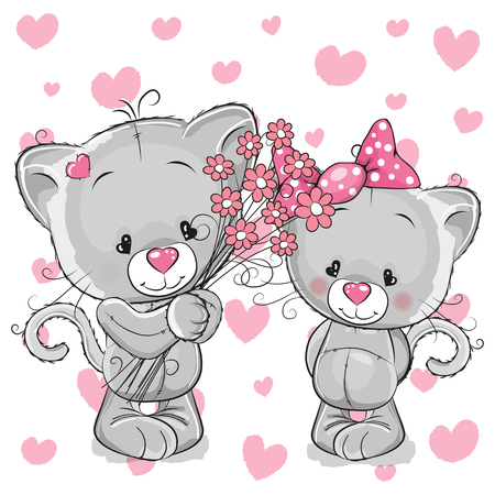 Greeting card kitten boy gives flowers to a kitten girl Illustration