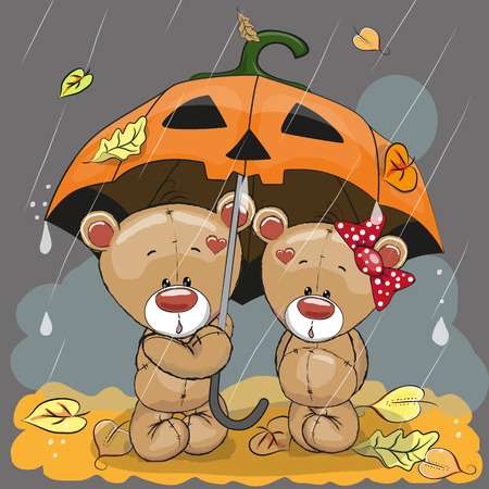 cartoon halloween: Halloween  card Two cute cartoon bears with umbrella under the rain Illustration