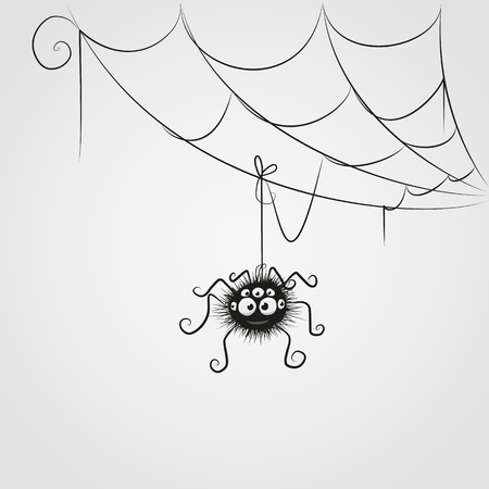 corner: Cute cartoon spider is hanging on the web