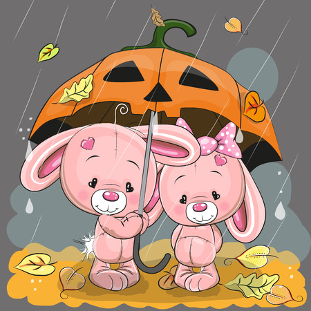 red umbrella: Halloween card Two cute cartoon rabbits with umbrella under the rain Illustration